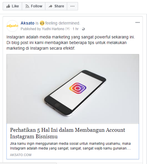 Facebook dari account Aksato